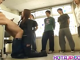 Teacher gets all of her students to fuck her pussy and ass More