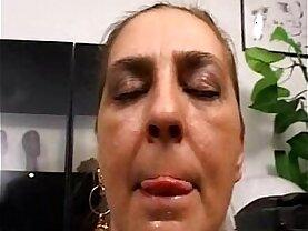 Tina Monti hairy Italian mature anal office ufficio