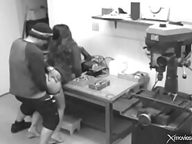 Big titted brunette wife cheats at work with a freak and caught by security cam hard, big cock, moa