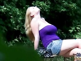 Stout huge titted slut sucking and fucking grandpa near a forest