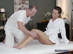 Massage Rooms Horny brunette Milf wanks sucks and fucks hard long black dick like a pro