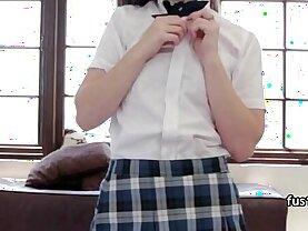Girl in School Uniform gets assfucked