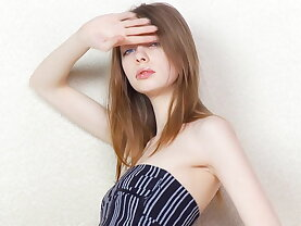 Skinny teen spreading on camera